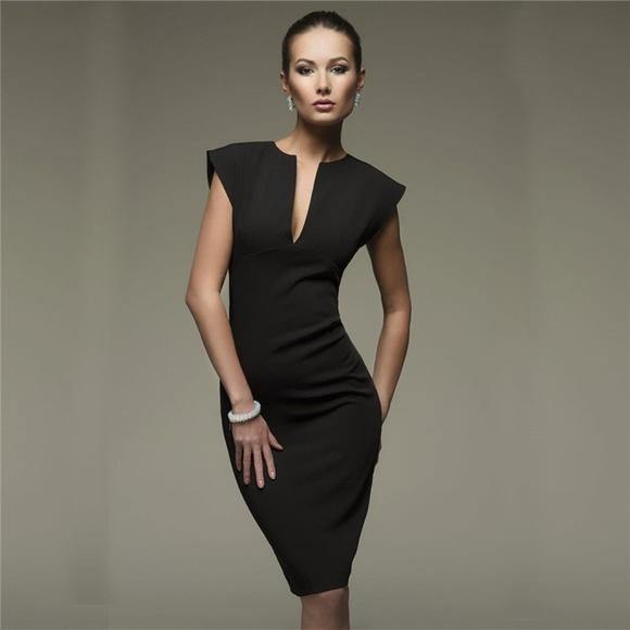 Black Sexy Low V Cut Pencil Midi Business Dress 073e80748